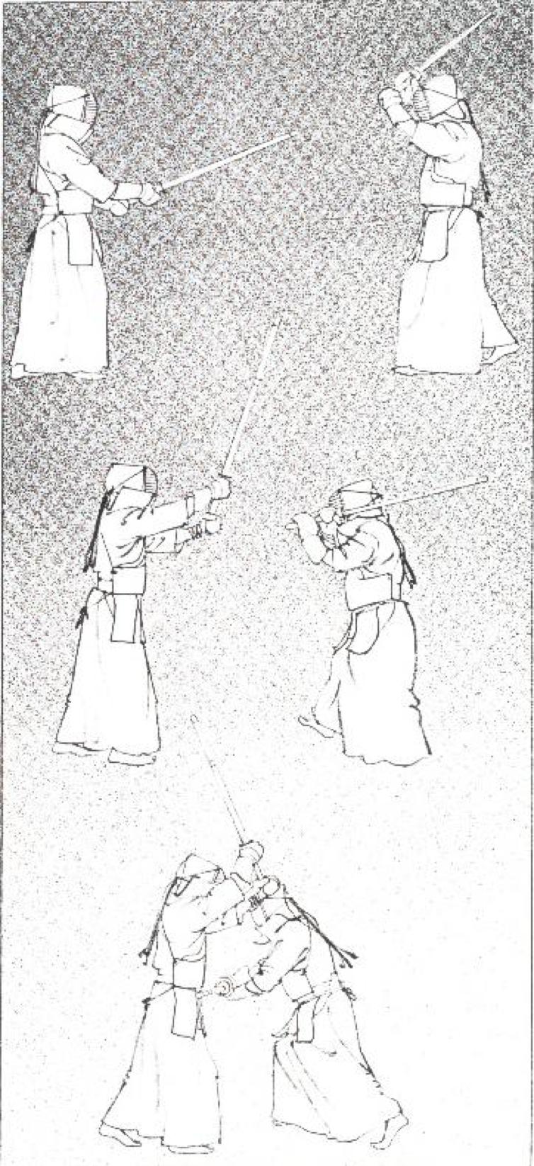 Рис.14. Когда оппонент проводит мэн наклонитесь вправо, чтобы избежать удара и контратакуйте ударом до.