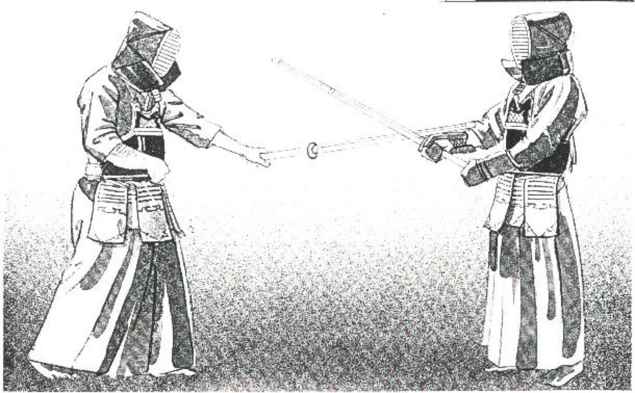 Рис.8. Котэ-ути: Левый локоть располагается напротив левой части тела, выгните левую кисть назад, «щелкните» кистью в сторону ладони, ударив котэ.